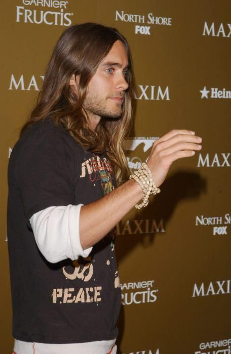 Jared Leto - long hair, layered tees