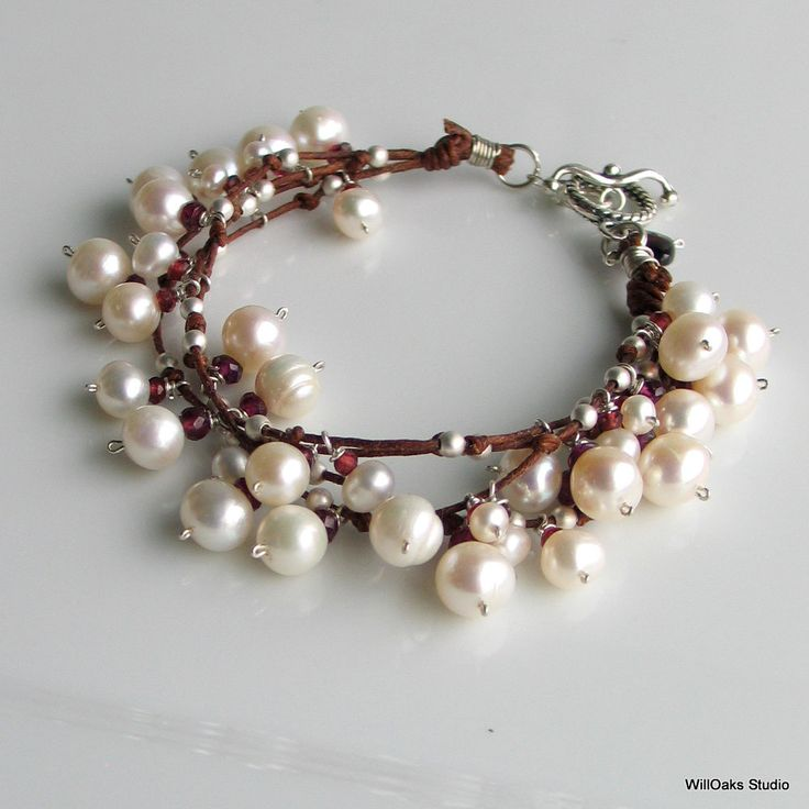 White Pearl Garnet  Charm and Fiber Bracelet, Pearls Charms with Sterling on Brown Linen, Knotted Multistrand Bracelet, June Birthday. $115.00, via Etsy.
