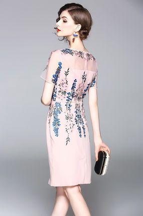ドレス-ミニ・ミディアム 上品 半袖 お花 刺繍 2色 結婚式 パーティー ドレス(11)