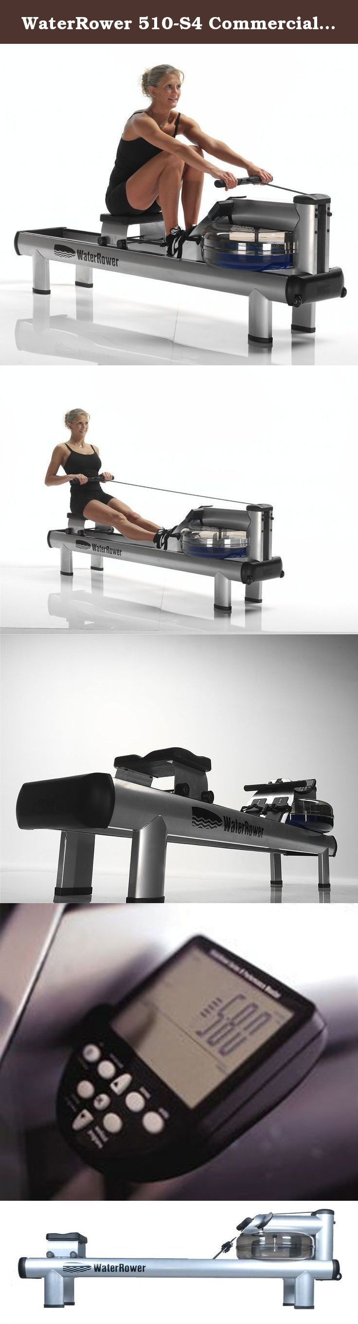 """WaterRower 510-S4 Commercial M1 HiRise Rowing Machine in Steel - Water Rower - Water Rowing Ergometer. The WaterRower M1 HiRise is a full commercial model with a higher level entry point (500mm/20""""). The frame is constructed from pressed tubular steel with a powder coated finish. The S4 performance monitor includes six information and programming windows, six QuickSelection buttons, and three navigation buttons, and displays your workout intensity, stroke rate, heart rate, zone bar…"""