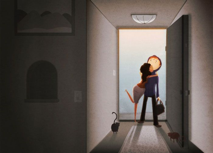 Simple Illustrations Reveal Endearing Moments of Love in Life's Everyday Moments - My Modern Met