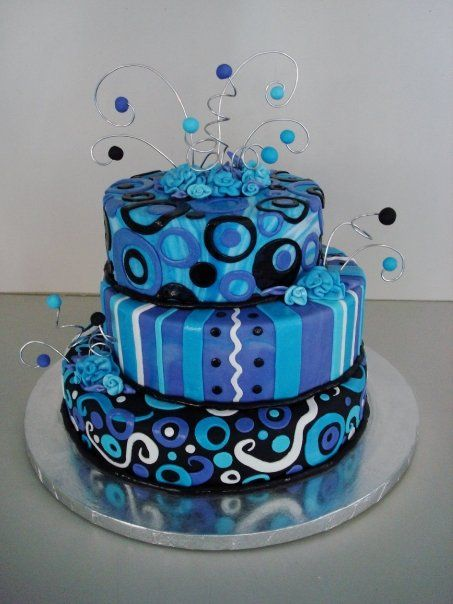 What a fun cake!! Love the colors!!