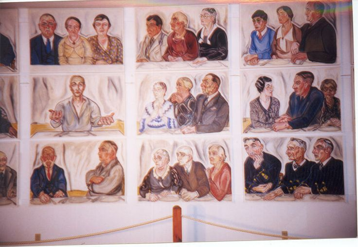 "A color photograph of the central portion of Alice Stallknecht's mural ""The Circle Supper"" 1935. Portraits that make up the mural picture people who lived in Chatham at the time. Housed in the Mural Barn at Chatham Historical Society. ""Christ Among You"" is the central portrait in the mural. #chatham, #cape cod #alicestallknecht, #chathamhistoricalsociety, #muralbarn, #stallknecht, #mural, #oilpainting"