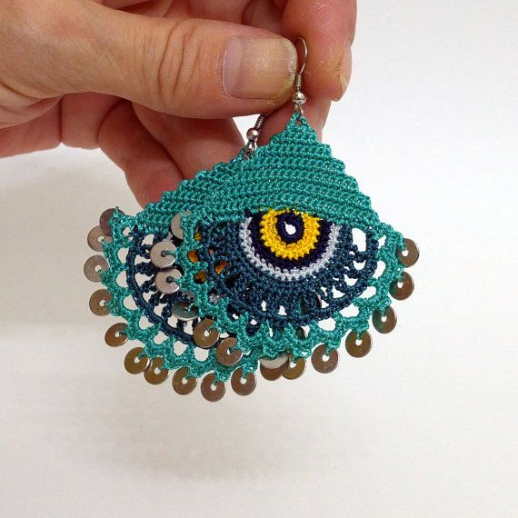 Eye Earrings Tatting Jewelry Summer Earrings Lace by NazoDesign