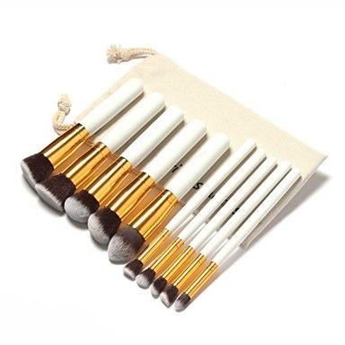 Set de 10 Pinceaux à maquillage professionels bout doré sac à maquillage avec lanière gratuit de 2016 à €9.79