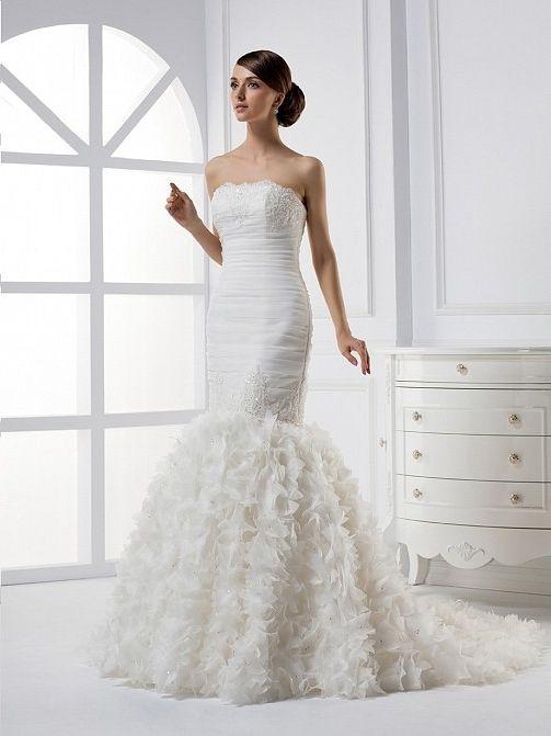 Organza Satin Satin Chapel Train Strapless Mermaid Wedding Dress(WD0641)