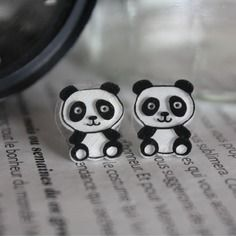 Panda earrings Shrink plastic