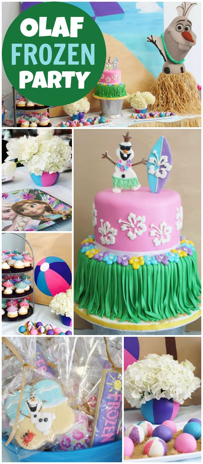 Love this summertime Frozen party featuring Olaf! See more party ideas at CatchMyParty.com!