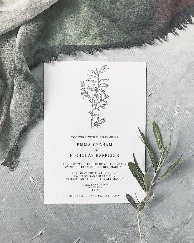 Bespoke wedding invitation // Olive branch, rustic, unique