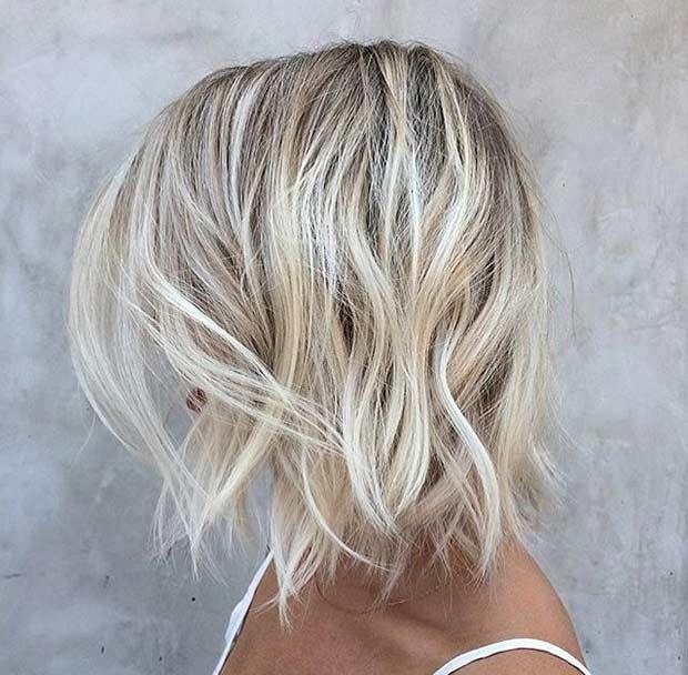 Choppy, Beige Blonde Lob Haircut