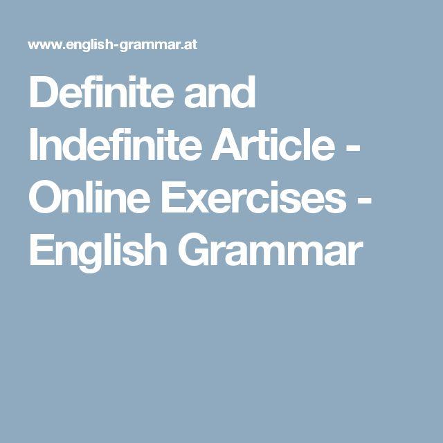 Definite and Indefinite Article - Online Exercises - English Grammar