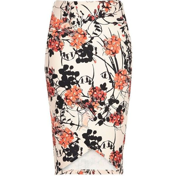 River Island Pink floral print pencil skirt ($44) ❤ liked on Polyvore featuring skirts, pink pencil skirt, pink skirt, pencil skirt, high-waisted skirts and white high waisted skirt
