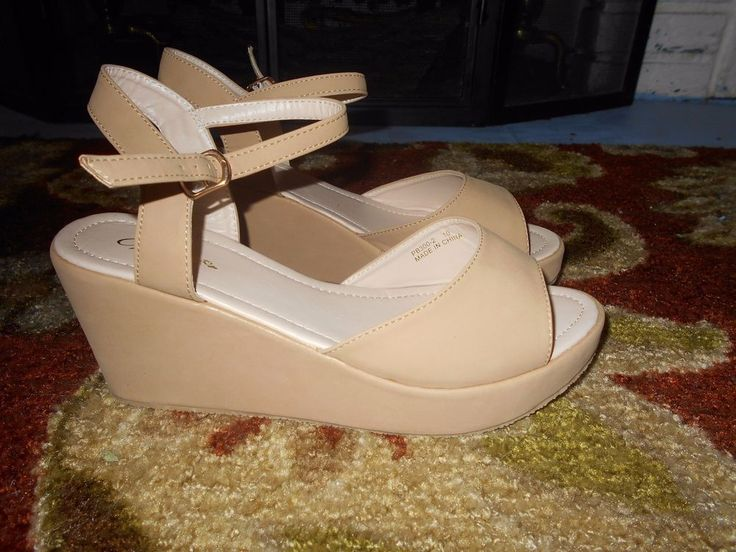 Voda Sandels Camel Colored Size 10 New in The Box #VODA #PlatformsWedges #BeachCasualFormalEtc