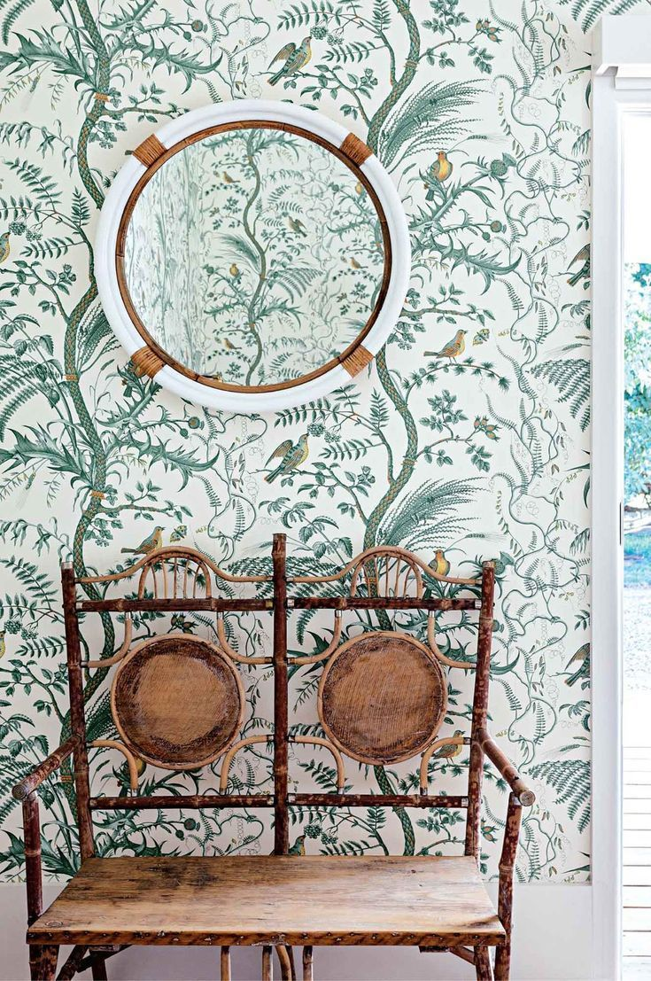 The Guest Bedroom Features Brunschwig Fils Bird And Thistle Wallpaper A Nautical Round Mirror And An Antique Thistle Wallpaper Mural Wallpaper Forest Style