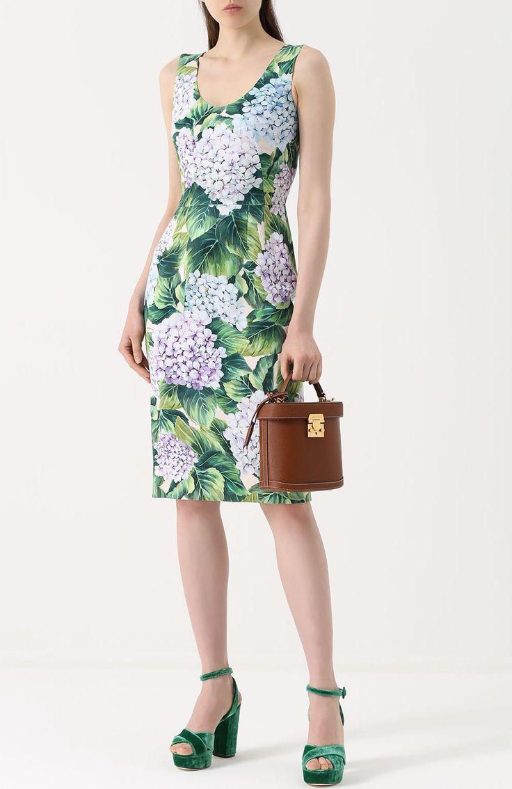 Женское зеленое приталенное платье-миди с цветочным принтом DOLCE & GABBANA — купить за 107500 руб. в интернет-магазине ЦУМ, арт. 0102/F65U6T/GDF75