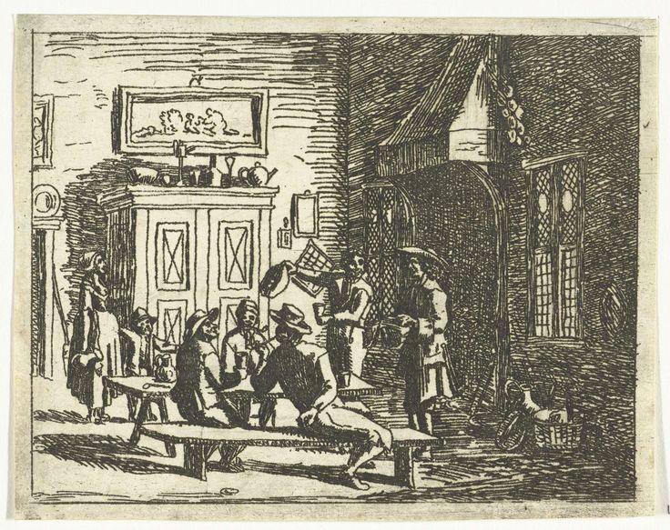 Anthonie van den Bos | Interieur van een herberg, Anthonie van den Bos, 1778 - 1838 | Een groep mannen zit aan tafel te drinken en pijp te roken. Een man staat voor de schouw en leest voor uit een pamflet. Een dienstmeid die net nieuwe drank komt brengen blijft staan en luistert aandachtig naar de man.