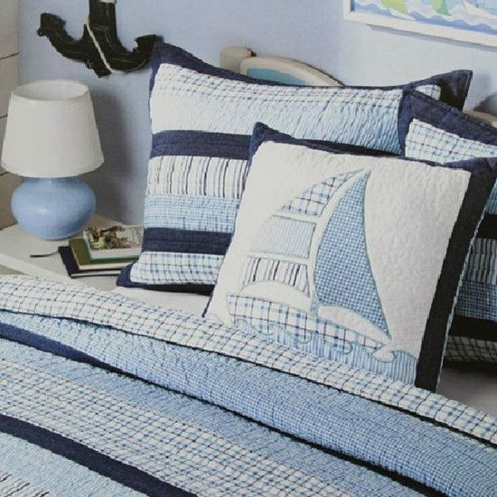 voyage sailing boat Stripe Children Bed Cover white Cotton bedspread handmade kids patchwork quilt twin size Cotton Blanket $89.00