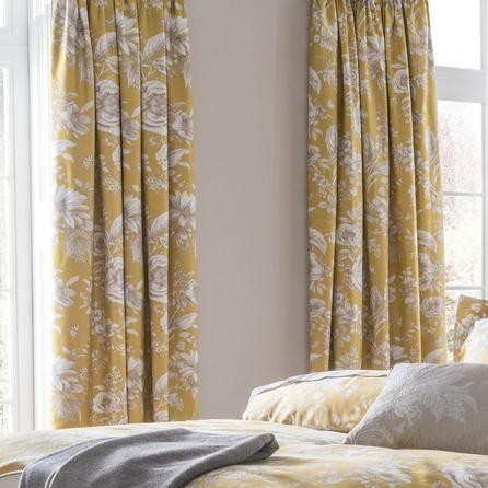 Dorma Floral Luxurious Ochre Yellow Alcea Blackout Pencil Pleat Curtains