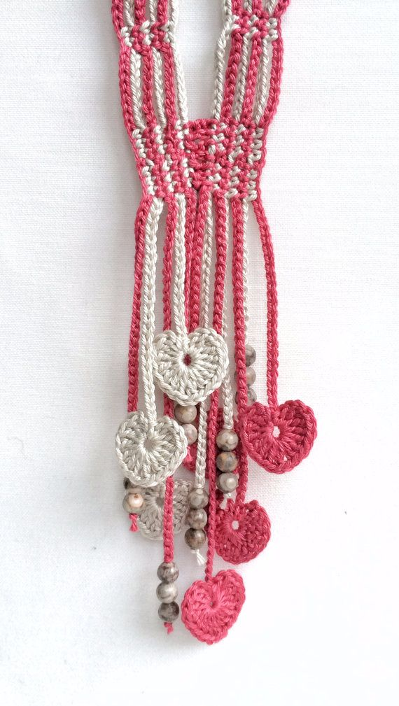 Limestone and pomegranate hearts long beaded by GabyCrochetCrafts