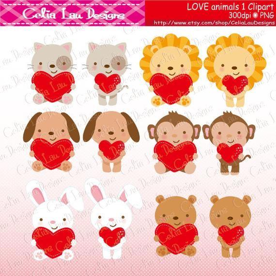 Love Animals Clipart Love Clipart Valentine Animals Cat Dog Lion Bear Monkey Bunny Clipart A029 Animal Valentine Animal Clipart Clip Art