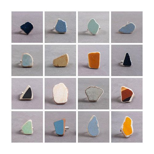 a collection of rings by Noga Berman made from pieces of ceramic found in construction yards around Israel.