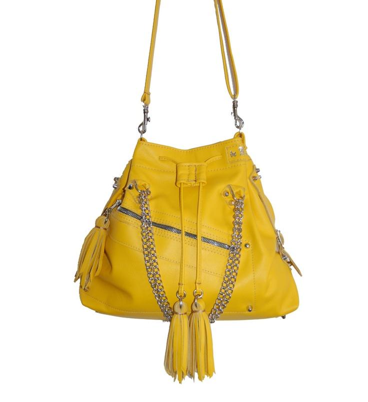 Amelie, studded yellow leather drawstring tote, shoulder bag, handmade. $310.00, via Etsy.