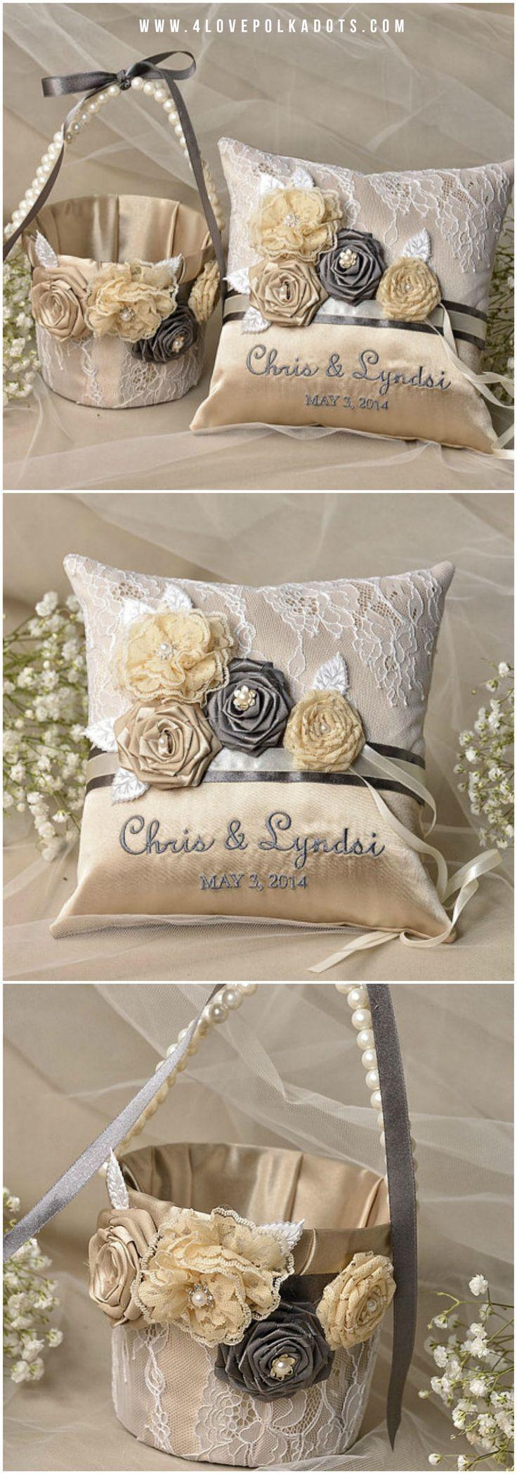 Champagne Wedding Satin Set - Wedding Ring Bearer Pillow & Basket #champagne #satin #handmade #goldwedding #weddingset #handmade #flowergirl #bearer