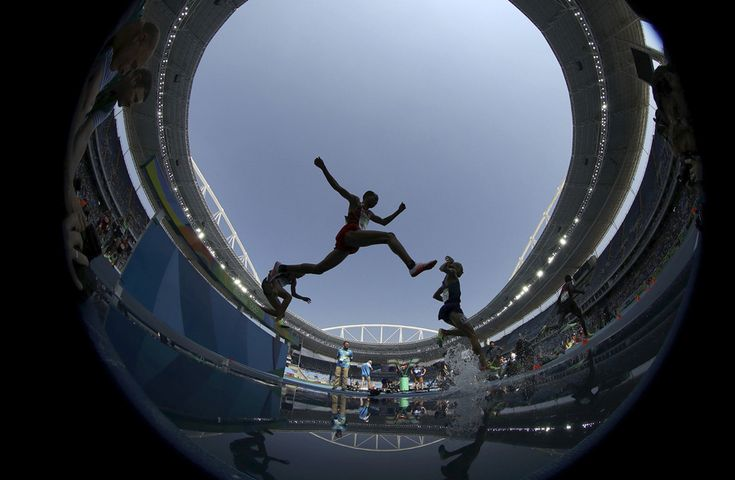 Athletes compete in the Men's 3000m Steeplechase Final. #  Phil Noble / Reuters