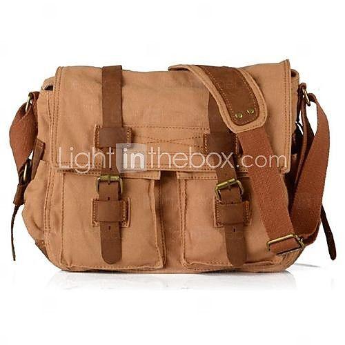 New Vintage Canvas férfi női bőr hátizsák Váll Messenger táska Book Bag - USD $ 34.99