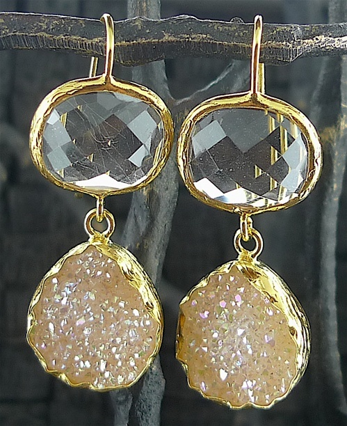 Coralia Leets Double Stone Clear Quartz and White Druzy Earrings
