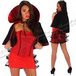 Halloween-Kostuums: Vrouwelijk Vampier Kostuum Rood