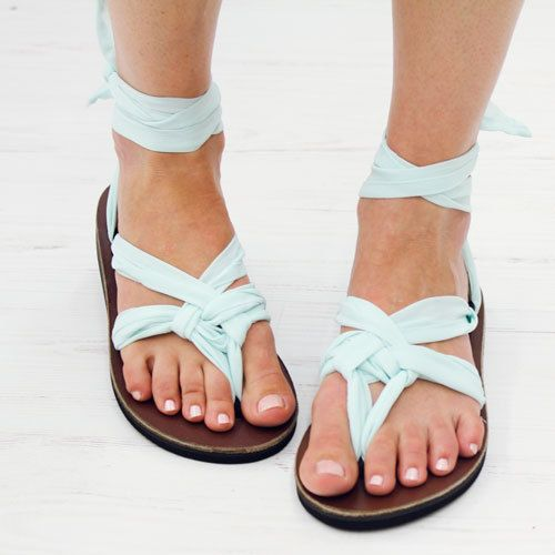 Sseko Mint Chiffon Sandals.  I want!!! 50 different ways to wear! And you can buy different colored straps for $14!!