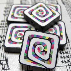 playful! Polymer Clay Beads  Looks like sushi rolls!