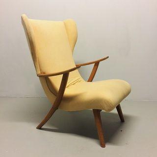 Classic Deens fauteuil Creme geel bekleding