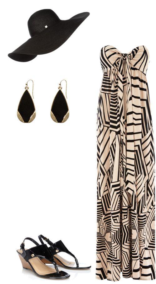 Chic Beach Style / bandeau maxi dress, black floppy hat, black wedge sandals