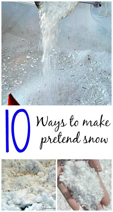 Make pretend snow with common household ingredients - great for play time, sensory bins and art. 10 ingredients - 10 whole new ideas. #snowcrafts, #winteractivitiesforkids from Blog Me Mom