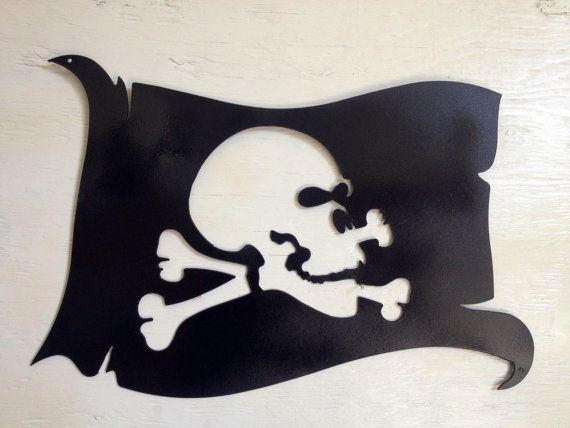 Metal Pirate Skull and Crossbones Flag Wall by MarriedToTheMetal