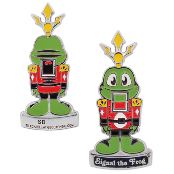 Signal The Frog® Nutcracker Geocoin  Celebrate the Holidays with this Limited Edition Signal The Frog® Nutcracker Geocoin!  This unique and innovative design features a moving mouth and Signal standing at attention ready to challenge the Muggle King!  This geocoin is trackable at www.geocaching.com with its own icon.  Dimensions: Approximately 2.875 inches tall and 1.25 inches wide.