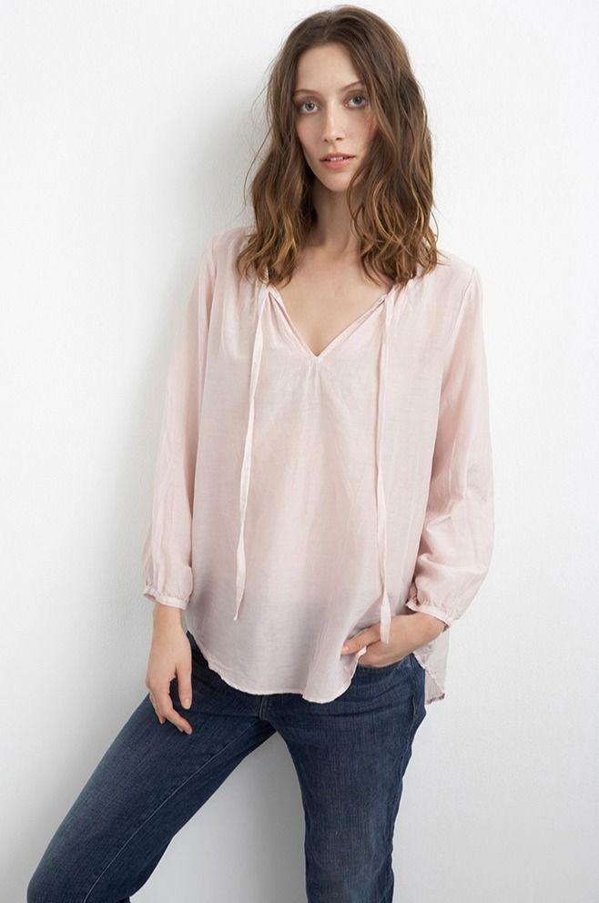 VELVET By Graham & Spencer Oceana Cotton Silk Voile Peasant Top Blouse Pink S  | eBay
