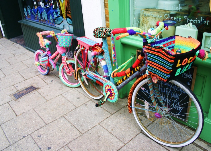Bicycles covered in wool: Whitstable, England