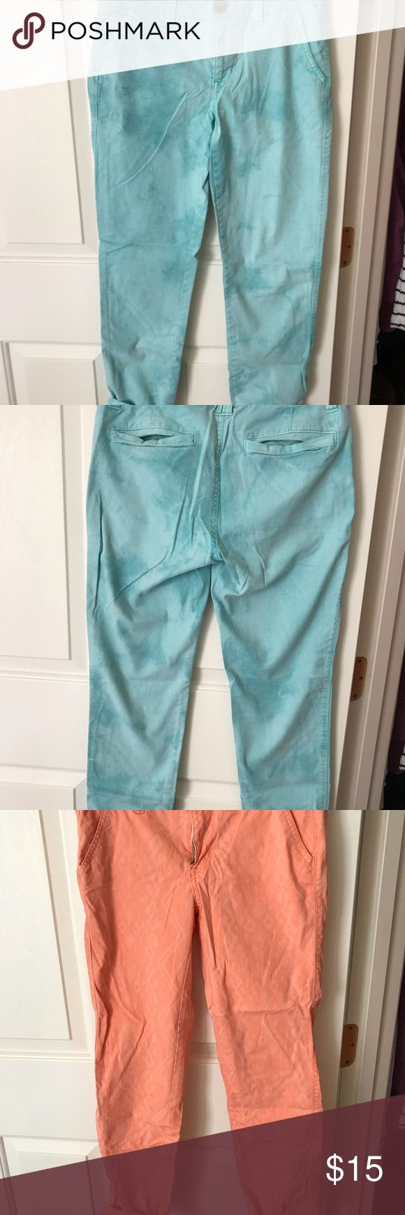 BLUE AND PEACH PRINTED KHAKI CAPRIS PERFECT for the spring and summer! Peach pants worn once blue pants new American Eagle Outfitters Pants Capris
