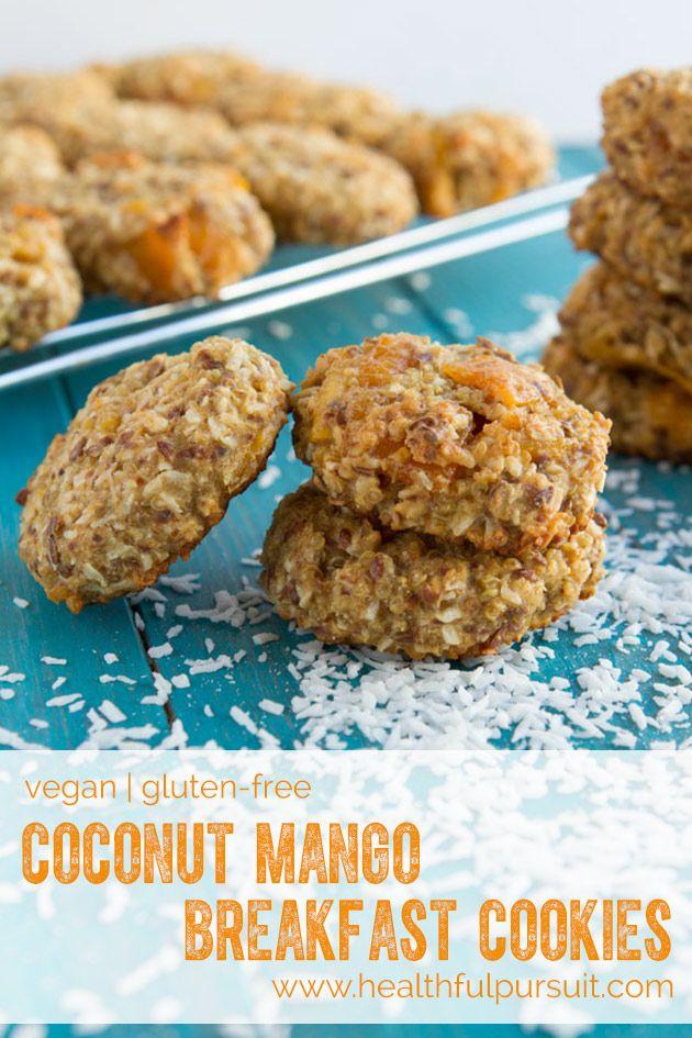 Quinoa Coconut Mango Breakfast Cookies  #vegan- Healthful Pursuit