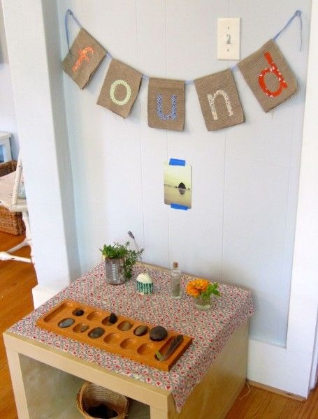 "Make a ""FOUND"" station for children to display the natural items they find outside. { What a great idea. Makes our nature tray look so inadequate! } very Reggio inspired!"