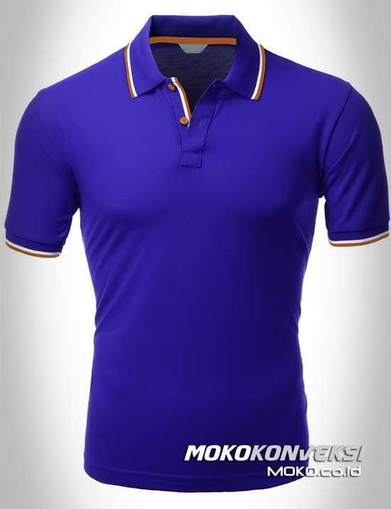 Polo Shirt Dual Stripes Accent | MOKO.CO.ID Supplier Kaos Polo Shirt Warna Biru.