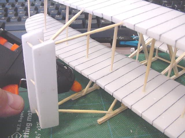 """Model of the Wright brothers' plane - from meat trays, toothpicks, and 10"""" piece of 1/8x1/8 balsa wood"""