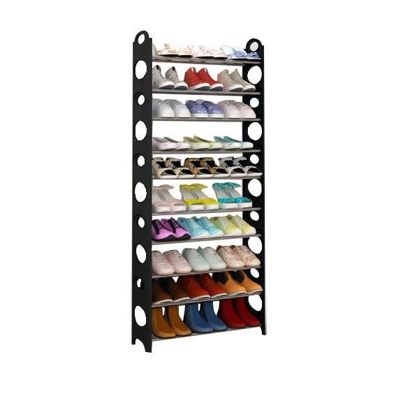 Sdfc 50 30pair Shoe Rack Free Standing Adjustable Organizer Space Saving 10 Tier D L Black 50 Storage Closet Organization Shoe Rack Shoe Rack Holder