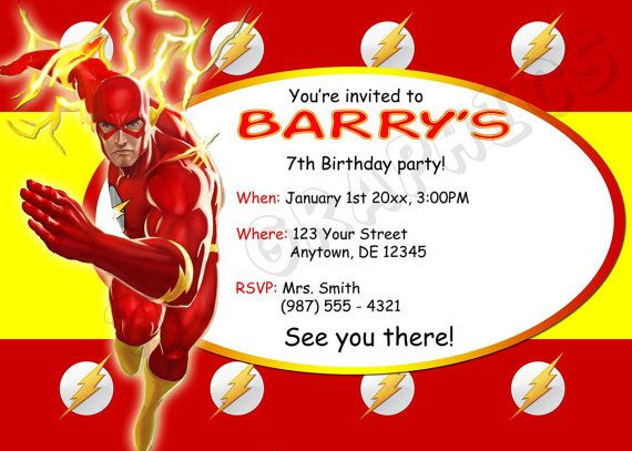 The Flash Birthday Invitation Printable By 717Graphics On Etsy 1200