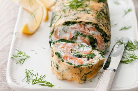 Spinach and salmon roulade