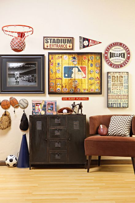 every guy needs a refuge where they can enjoy what they love whether its in sports theme basementboys basketball bedroombasketball man - Boys Room Ideas Sports Theme