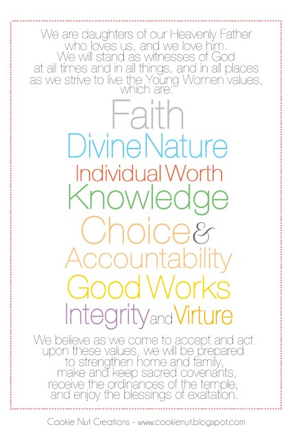 Printable Young Women Theme Handout (Virtue is spelled correctly on the website)